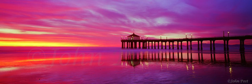 Manhattan Beach Pier Extreme Sunset B seascape panorama (c)John Post